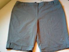 Ashley Stewart bermuda shorts sz 26w gray cuffed hem NWT #AshleyStewart #BermudaWalking