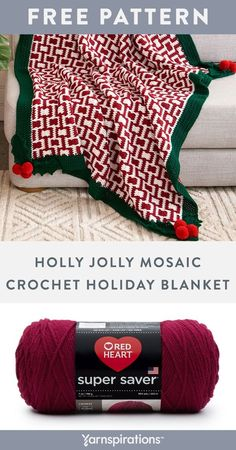 Free Holly Jolly Mosaic Crochet Holiday Blanket pattern using Red Heart Super Saver yarn. Worked in the ever-popular mosaic crochet technique, adding fun pompoms and crochet holly leaf motifs at all 4 corners creates a sense of stylish whimsy that is sure to impress. #Yarnspirations #FreeCrochetPattern #CrochetAfghan #CrochetThrow #CrochetBlanket #MosaicCrochet #HolidayBlanket #ChristmasDecor #RedHeartYarn #RedHeartSuperSaver Afghan Patterns, Crochet Blanket Patterns, Knit Patterns, Knit Or Crochet, Free Crochet, Super Saver, Holly Leaf, Red Heart Yarn, Crochet Projects