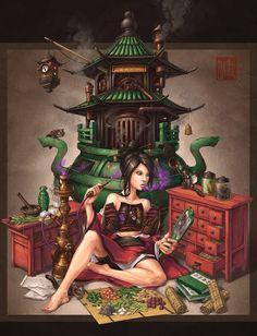 Crystal Herbalist Chinese Steampunk Print by James Ng