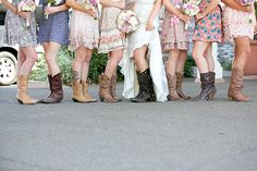 love the different bridesmaid dresses and boots!