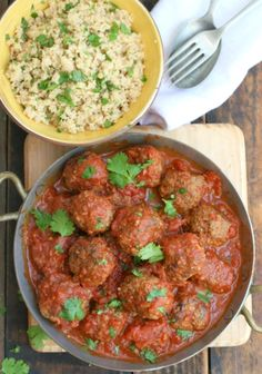 moroccan meatballs with herb couscous meatballs-I really should stop looking at food. Its making me want to bail on my juice detox! =( cant wait to make this though! Meatball Recipes, Meat Recipes, Cooking Recipes, Healthy Recipes, Dishes Recipes, Bakery Recipes, Morrocan Food, Moroccan Dishes, Moroccan Recipes