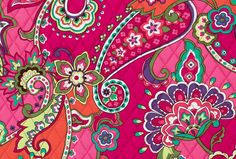 Pink Swirls: Bright pinks are accented by tones of turquoise, lemon yellow, violet, orange and green. Spinning paisleys and vibrant florals create an optimistic statement. #BrightestYearEver | Vera Bradley