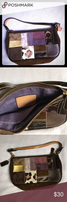 Small Coach Handbag This is a small, lightly used handbag. The exterior is fun and funky, made from suede and leather. The interior is purple and has one small pocket. Coach Bags Mini Bags