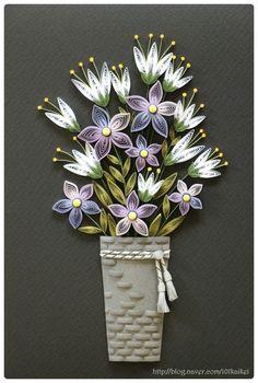 드뎌 종이감기 고급과정이 시작되었습니다.설레고 기대되고..ㅎㅎ 제 1 강 - 꽃과 꽃병