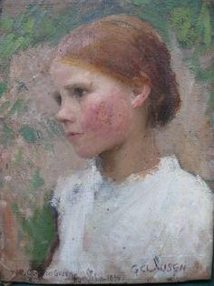 "Sir George Clausen, ""A Village Girl"". http://blog.ukauctioneers.com/2010/06/sir-george-clausen-r-a-painting-for-sale-at-uk-auction/"