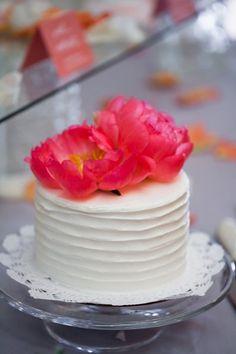 Mini Wedding Cake with #Peony Embellishments I Fiona's Cakes I http://www.weddingwire.com/wedding-photos/real-weddings/chesapeake-bay-summer-wedding/i/54e3378ef93aea6b-70160da8feedfdd9/bc92799754e7671e