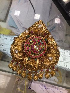 nakshi work ruby pendant