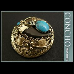 Native American Style Concho Brass Bear claw TurquoiseWILD HEARTS Leather&Silver http://item.rakuten.co.jp/auc-wildhearts/co2343/