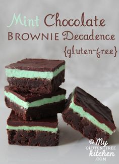 Gluten-free Mint Chocolate Brownie Decadence ~layered brownies with the perfect amount of mint flavor