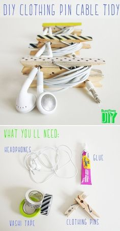DIY Clothing Pin Cable Tidy with Washi Tape Easy And Adorable Ways To Organize Your Cords). How do people think of this stuff? This is awesome!