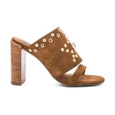 Urge Escape Heel (€140) ❤ liked on Polyvore featuring shoes, sandals, slip-on shoes, studded shoes, studded high heel shoes, slip on shoes and pull on shoes