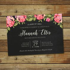 This chevron graduation party invitation features a chalkboard style and a floral border. This can be purchased as a printable file or printed