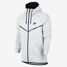 Nike Men's Tech Fleece Windrunner Hoodie In White/black Mens Golf Jackets, Mens Outdoor Jackets, Nike Outfits, Teen Fashion Outfits, Nike Tech Fleece Windrunner, Nike Clothes Mens, Tech Fleece Hoodie, Nike Wear, Windrunner Jacket