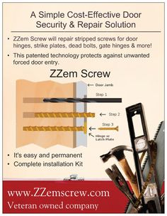 Door Security And Stripped Screw Repair, ZZem Screw Home Security Tips, Security Door, Security Systems, Security Alarm, Door Reinforcement, Stripped Screw, Diy Home Repair, Home Safety, Protecting Your Home