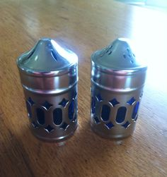 Vintage Cobalt Blue Glass and Metal Salt and Pepper Shakers