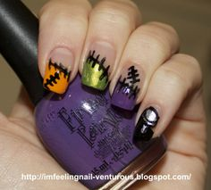 Funky Frankenstein French Nail Design... I wish I could see the nail art on the thumb. But either way, SUPER CUTE. Perfect for Halloween! It's a real SCREAM!