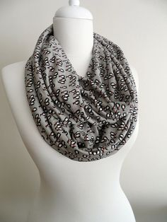 Little penguin motives on grey color ground Infinity scarf, Jersey scarves, shawls, spring - fall - winter fashion