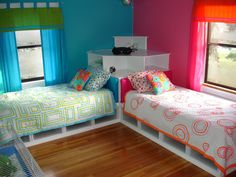 Twin beds, girl + boy room. http://www.steriliteideas.com/