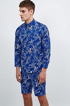 Urban Renewal Vintage Remnants Tropical Co-Ord Shirt in Blue - Urban Outfitters
