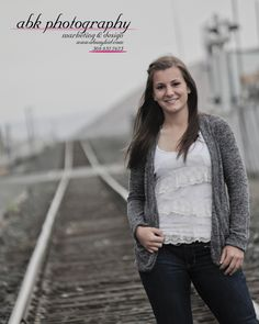"""January 24 - Ms. Bailey posing for her Senior Picture """"On the Tracks"""" this past fall. Georgous!"""