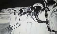 A negative image painting of kolkhozniki ( collective farmers) doing gas drills in Russia during WWII. I painted it for my brother using a picture I found on microfiche as a reference. He loves post apocalyptic video games.