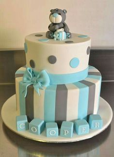 Baby Shower Cake Boy cake- Costilla Julia carrizales love the colors! Torta Baby Shower, Baby Shower Cakes For Boys, Baby Boy Shower, Baby Cakes, Cupcake Cakes, Sweets Cake, Christening Cake Boy, Baby Boy Baptism, Decors Pate A Sucre