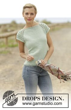 Petronella Top with lace pattern and raglan by DROPS Design Free Knitting Pattern