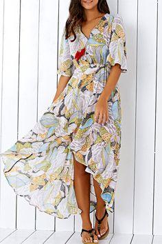 $16.04 Bohemian V Neck Printed High Low Chiffon Maxi Dress For Women