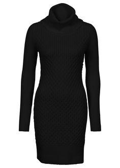 Štýlovo počas zimy! Pletené šaty s dlhým rukávom, voľný rolákový golier, dĺžka vo veľ. 36/38 cca 86 cm. Vrchný materiál: 60% polyakryl, 24% bavlna, 15% nylón, 1% elastan