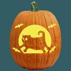 "One of 700+ FREE stencils for pumpkin carving and more! www.pumpkinlady.com ""Bat Cat"" #FreePumpkinCarvingPattern"