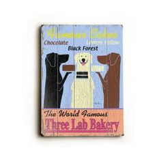 ArteHouse 14 in. x 20 in. Three Lab Bakery Vintage Wood Sign-0003-1116-26 at The Home Depot