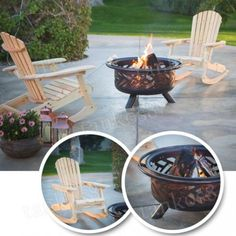 Set-Steel-Solid-Fire-Pit-amp-2-Rocking-Chairs-Wood-Classic-Outdoor-Garden-Backyard