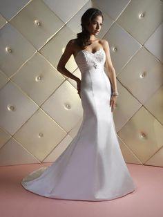 Cheap Sweetheart Applique Beading Empire Mermaid Satin Chapel Train Bridal Gown