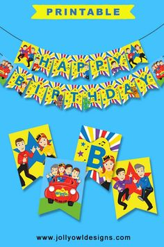 Celebrate with a PRINTABLE banner and create an eye-catching Wiggles birthday party! Wiggles Birthday, Wiggles Party, The Wiggles, Farm Birthday, 3rd Birthday Parties, Birthday Party Decorations, Happy Birthday Printable, Happy Birthday Banners, Construction Birthday Parties