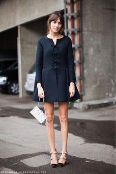 Alexa Chung style | Navy coat with bows