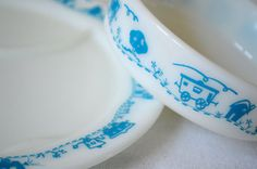 Pyrex 1950s Vintage RARE Milk Glass with Blue Train Design Childs Tableware Set Divided Plate and Bowl RARE on Etsy, $45.00