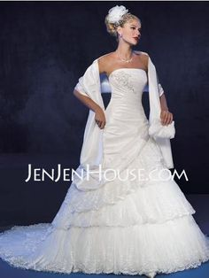 Wedding Dresses - A-Line/Princess Strapless Chapel Train Taffeta  Tulle Wedding Dresses With Ruffle  Lace  Beadwork Aline-Princess-Strapless-Chapel-Train-Taffeta--Tulle-Wedding-Dresses-With-Ruffle--Lace--Beadwork