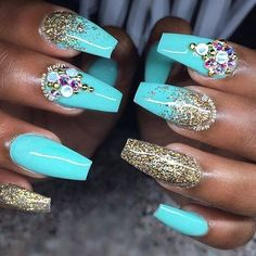 We all want beautiful but trendy nails, right? Here's a look at some beautiful nude nail art. Funky Nails, Glam Nails, Bling Nails, Cute Nails, Beautiful Nail Designs, Cute Nail Designs, Acrylic Nail Designs, Turqoise Nails, Turquoise Acrylic Nails
