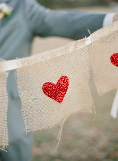 Glittered Heart Garland | Style Me Pretty