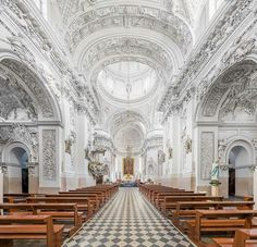 Central nave of St. Peter and St. Paul's Church, Vilnius, Lithuania looking north-east towards the altar. An example of a Baroque church interior.