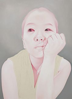 Artist: Sungsoo Kim {contemporary art female head hand melancholy pale woman face portrait cropped painting #loveart}