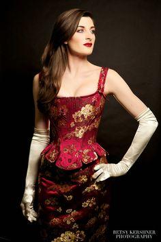 Dark Garden Custom Baroque corset in cranberry peony silk brocade. Model Anneka Quellhorst. Photo Betsey Kirschner.