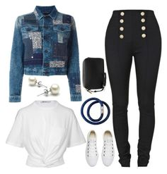 """""""Denim Jackets"""" by gracefully-artistic on Polyvore featuring Balmain, T By Alexander Wang, Diesel, Converse and Mulberry"""