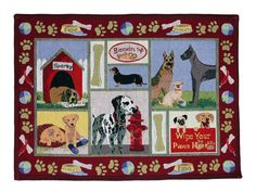 PB Paws & Co. Moroccan Red Dog Days Tapestry Indoor/Outdoor Area Rug