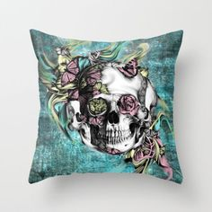 Butterfly smoke skull in color. Throw Pillow by Kristy Patterson Design