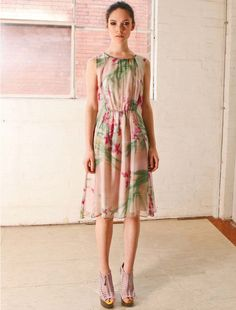 Nevenka Floral Timeless Movement Sleeveless Silk Georgette Dress