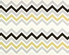 Curtains-Pair-Dark Brown, Yellow, Grey Zig Zag