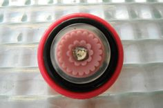 Colorful and ready for spring!  This fun vintage inspired button pin is a great accent for your outfit, coat, handbag or hat!   Pink Flower Pin, Pink Black White Pin, Button Pin, Recycled Button Jewelry, Spring Jewelry, Assemblage Pin, Hat Pin, Coat Lapel Pin, Brooch by mscenna on Etsy