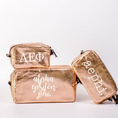 Our trio of rose gold Alpha Epsilon Phi cosmetic bags are made from recycled kraft paper. Great for makeup, accessories, travel, school supplies, etc.