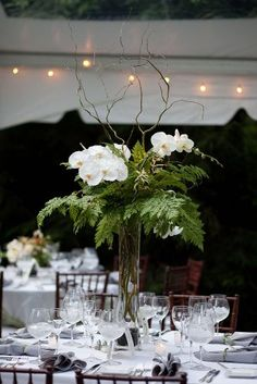 Ideas Of Budget Rustic Wedding Decorations ★ budget rustic wedding decorations tall centerpiece with greenery and white orchids floral studio Orchid Centerpieces, Orchid Arrangements, Elegant Centerpieces, Wedding Table Centerpieces, Wedding Decorations, Curly Willow Centerpieces, White Orchid Centerpiece, Willow Branch Centerpiece, Wedding Bouquets